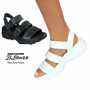 Skechers Ladies Womens D'Lites 2.0 Style Icon Stylish Summer Beach Sandals