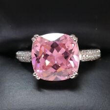 SOLID Silver 3 Ct Cushion Pink Sapphire Diamond Halo Ring Jewelry Size 6 R628