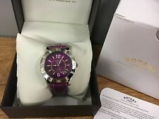 Rotary Ladies Watch Black & Purple Waterproof Crystal Case Genuine