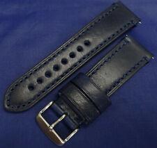 Neuf Bleu Foncé Véritable Cuir 22mm Bracelet de Montre Smartwatch Argent Boucle