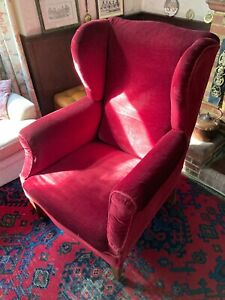Antique Victorian 'Grandfather' Wing Armchair, Red, with Blue Floral Loose Cover