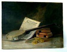 Fine Art Still Life Trompe L'oeil Musical Instrument & Books Early Oil on Canvas