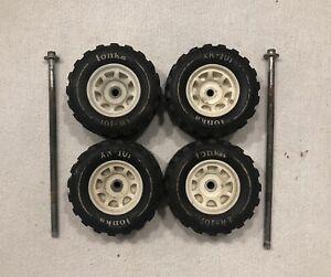 (4) 1970's/1980's Tonka XR-101 Wheels w/ White Rims & Axles Original Tires