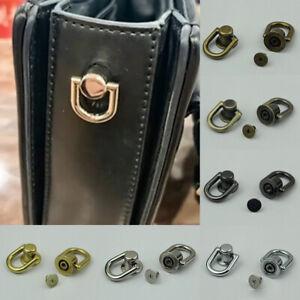Metal Side Clip Round Ring Stud Snap Hook Buckle Screw Nail Luggage Bag Rivet