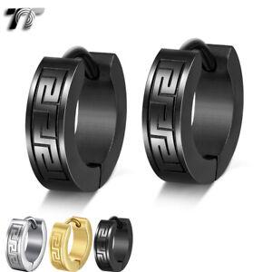 Quality TT Stainless Steel Greek Key Hoop Earrings (EH23) 3 Colours 2021 NEW