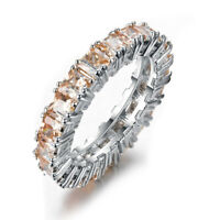 Natural Honey Morganite Gemstone Silver Ring Size 6-10 Band Rings For Woman