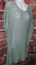 Green sweater vest tunic size M Med crochet butterfly Nick & Mo Anthropologie