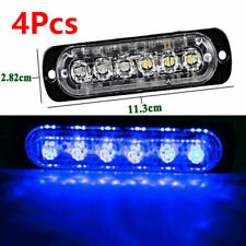 4X 12/24V 6 LED Car Emergency Strobe Amber Flashing Beacon Breakdown Blue Light
