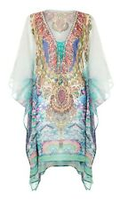 Womens Printed Long Kaftan With Embellished Neck Detail One Size Plus Maxi Dress
