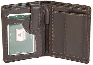 Visconti Brown Real Leather 8 Card RFID Wallet With Coin Purse Gift Boxed - HT11