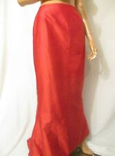 UK:10 Immaculate Lipstick Red Lined Silk Maxi Skirt Fishtail Steampunk