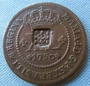 1790 Colonial Brazil Portugal 40 XL Reis Old Coin Maria the Mad Counterstamped