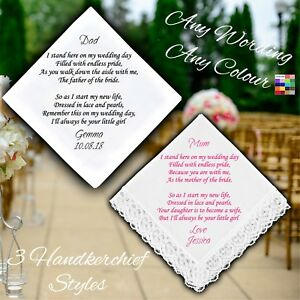 Mother or Father of the Bride Personalised Handkerchief Favour Gift Wedding Poem