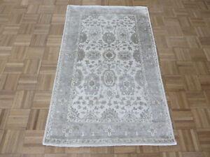 3 X 4'11 Hand Knotted Ivory Gray Bamboo Silk Oushak Ushak Oriental Rug G5727