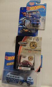 "Hot Wheels ""VW BUNDLE"" Custom Hauler, Kool Kombi, Black Bug, & MB 50th 1962 Bug"