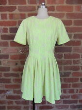 ASOS LADIES SIZE 10 UK 12 EU 40 CANARY YELLOW SKATER STYLE DRESS PLEATS FLORAL