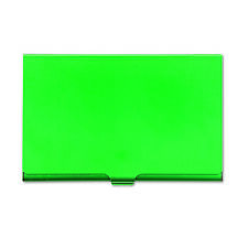 GREEN BUSINESS CREDIT CARD HOLDER METAL SNAP SHUT COLOURFUL SLIM POCKET SIZE