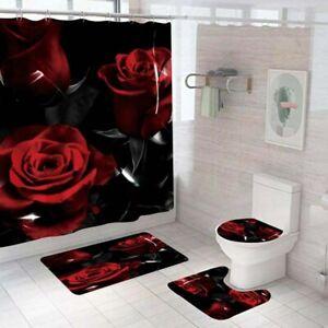 Black Red Rose Shower Curtain Set Bathroom Rug NonSlip Bath Mat Toilet Lid Cover