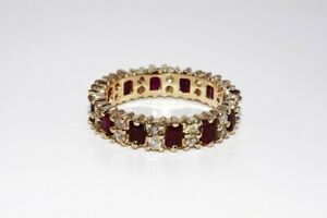 $5,200 3.66CT NATURAL RED RUBY & DIAMOND ETERNITY BAND 14K YELLOW GOLD