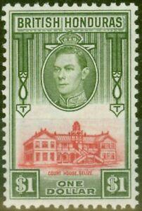 British Honduras 1938 $1 Scarlet & Olive SG159 V.F Very Lighlty Mtd Mint