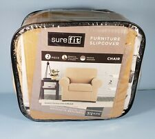 SureFit STRETCH HONEYCOMB 2PC - Chair Slipcover - Cream (SF40477) Repackaged