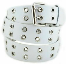 White Silver Grommet 2 Holes Belt 2-Prong buckle Size Small 30-32 Unisex NEW