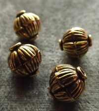 ANTIQUE CORRUGATED ROUND GOLD PLATED COPPER BEAD (2 MM HOLE) 12 MM (8 PIECES)
