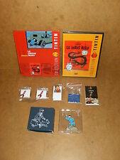 TINTIN Hergé - DVD LE LOTUS BLEU et livret + FIGURINE (archives Tintin) + PINS