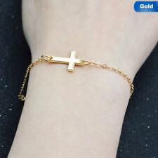 Jesus Christian Unisex Personality Horizontal Sideways Cross Bracelets Jewellery
