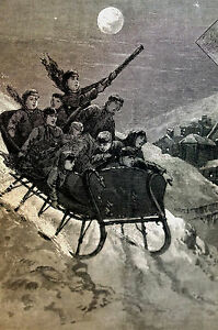 Graham SLEIGH RIDE at Night - Moonlight Sled Ride 1881 Antique Print Matted