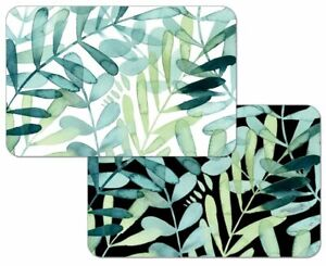 Beautiful  4 Reversible Plastic Placemats Tropical Gossamer Palm Leaves