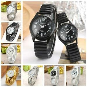Fashion Unisex Watch Quartz Analog Wristwatch Arabic Number Dial Elastic Band