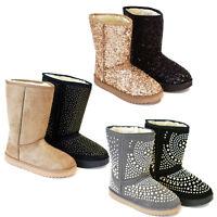 Stiefel Stiefelette Damen Mädchen Warm Fell Boots schwarz gold grau Pailletten