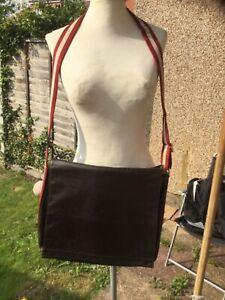 Genuine Bally dark brown leather large work school adjustable strap shoulder bag