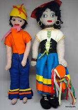 Ethnic Felt Souvenir Cloth Doll x 2 Boy Girl 14in West Indies Bold Colors Jewels