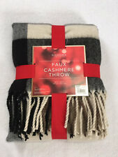 "NEW Sonoma Faux Cashmere Acrylic Fringe Black Plaid Throw Blanket 50"" x 60"""