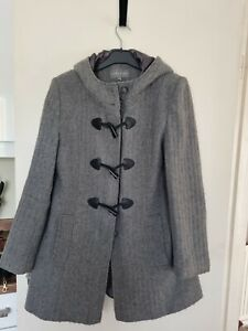 Laura Ashley Size 12 Grey Wool Blend Hooded Knee Length Coat Great Condition