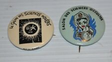 lot of 2 OCCULT FAIR vintage PINBACK / PIN (French) Sciences Occultes 1980s