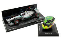 1/8 1/43 Minichamps Spark Lewis Hamilton Mercedes 2013 F1 Car Set USA Brazil