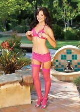 Hot Pink Lace Open Cup Tri-top Halter Bra Skirtini Thigh High Stocking Set 96146