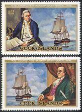 Cook Is. 1976 Capt Cook/Franklin/Navy/Ship/Transport/USA Bicentenary 2v (n31449)