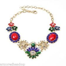 Amrita Singh Belle Crystal Floral Large Statement Bib Necklace NKC 8866 NWT