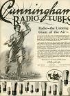 1926+Vintage+Original+CUNNINGHAM+RADIO+TUBES+Big+Page+Ad.+Untiring+Giant+of+Air