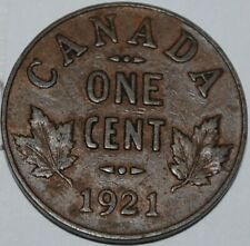 Canada 1921 1 Cent Copper Coin One Canadian George V Penny