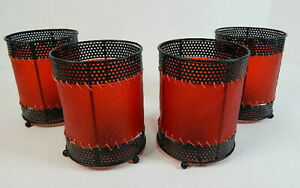 """GOTHIC Set of FOUR Black Base Red Shade Tealight Candle Holders 5"""""""