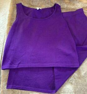 St John Evening Collection Purple Skirt & Tank Top/Cami - Skirt (16) Top (Lrg)