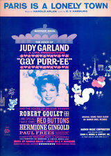 "GAY PURR-EE Sheet Music ""Paris Is A Lonely Town"" Judy Garland"
