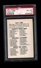 1962 Parkhurst Hockey Checklist/Tally Card PSA 6 EX-MT