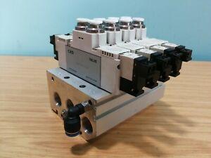 CKD 4GB329-E23JK 24VDC 4 Stn. Air Pneumatic Solenoid Valve Manifold Assy 6mm