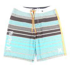 New listing Hurley Mens Swim Trunks Size 33 Blue Flat Front Drawstring Board Shorts